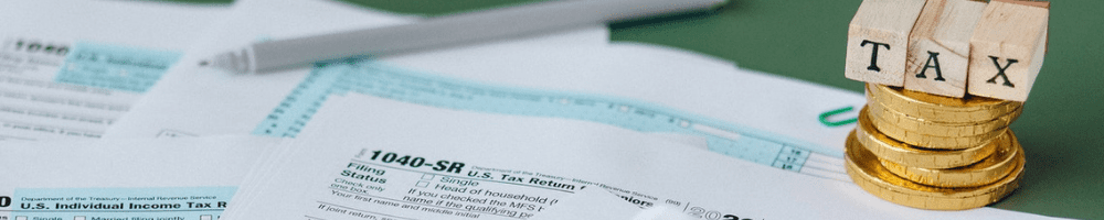 picture of tax forms on a desk